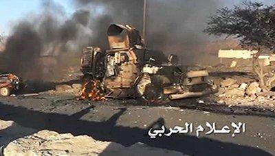 مصرع أربعة من مرتزقة العدوان و تدمير آلية عسكرية في تعز